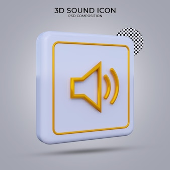 Icona del suono di rendering 3d isolata