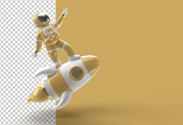 Render 3d spaceman astronauta razzo volante