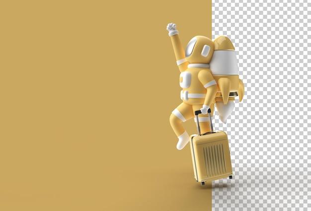 3d render spaceman astronauta volare con razzo file psd trasparente
