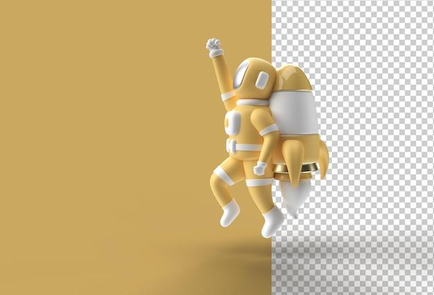 Rendering 3d spaceman astronauta in volo con razzo