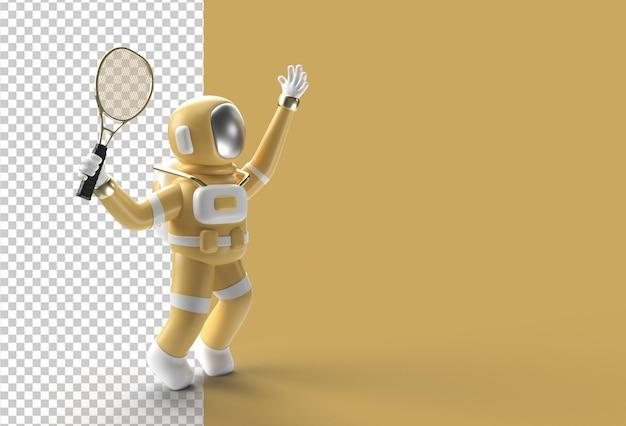 Rendering 3d spaceman astronauta che gioca a tennis