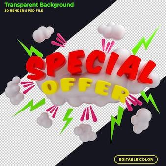 3d rendering offerta speciale banner promozionale