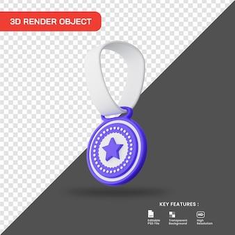 3d render icona stella medaglia