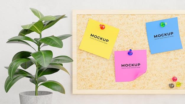 Rendering 3d di foglietti adesivi inseriti in una tavola di compensato per il tuo mockup