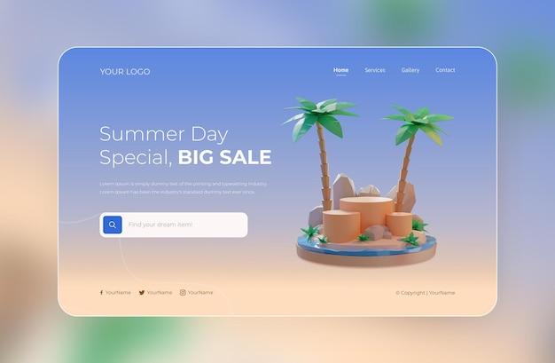 Rendering 3d del modello di progettazione della pagina di destinazione estiva