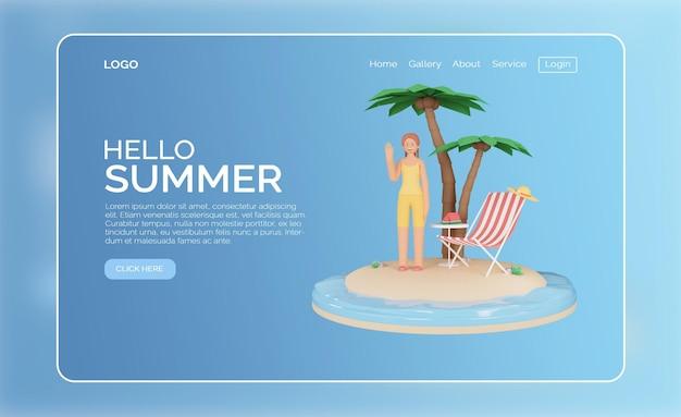 Modello di progettazione della pagina di destinazione estiva di rendering 3d