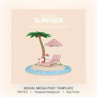 Render 3d modello di post sui social media estivi