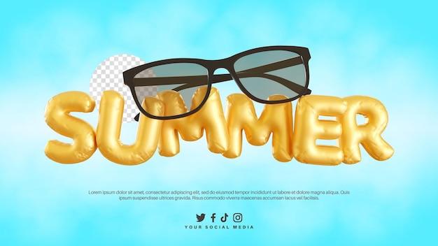 Rendering 3d dell'alfabeto di testo estivo con occhiali neri