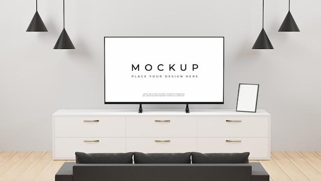 Rendering 3d dell'interno della sala tv con mockup di divano con cornice