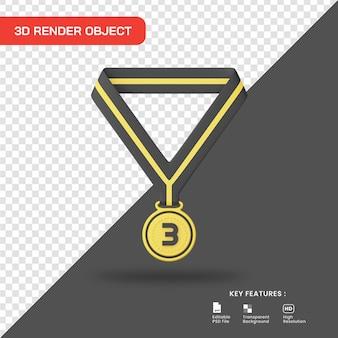3d rende l'icona della medaglia del terzo posto