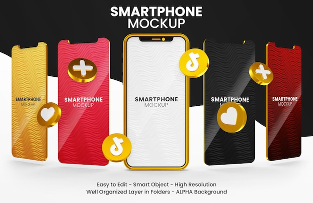 3d render icona tiktok su oro multi smartphone mockup