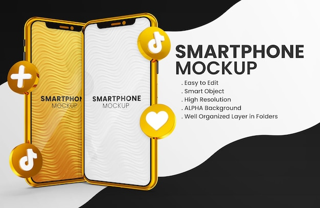 3d render icona tiktok su smartphone oro mockup