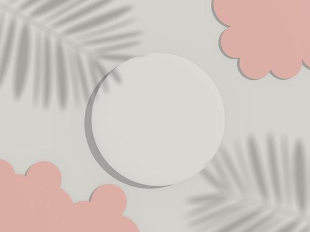 3d render vista dall'alto del telaio del cilindro bianco vuoto per simulare e visualizzare prodotti