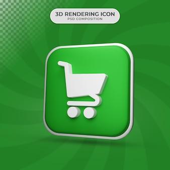 Rendering 3d del disegno dell'icona del carrello