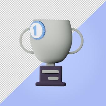 Trofeo di rendering 3d con l'icona della spilla dei campioni