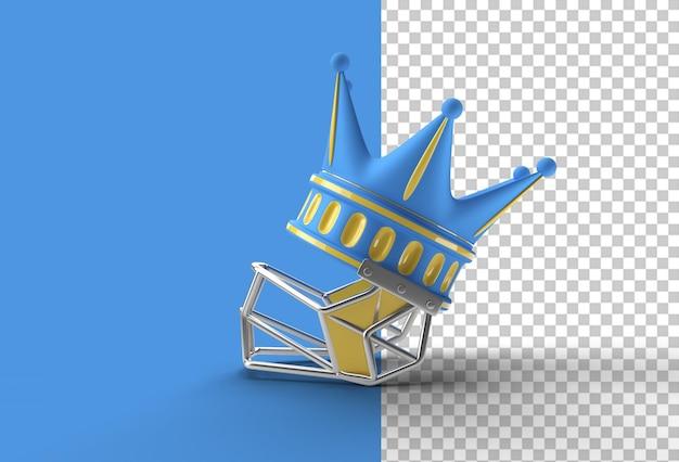 Render 3d corona turchese con elmo