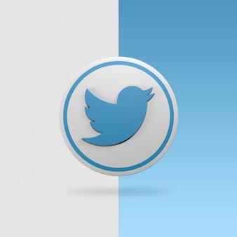 Icona di twitter rendering 3d