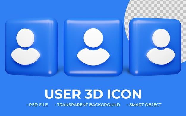 Rendering 3d disegno dell'icona utente o account