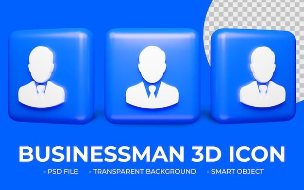 Rendering 3d disegno dell'icona di utente o uomo d'affari