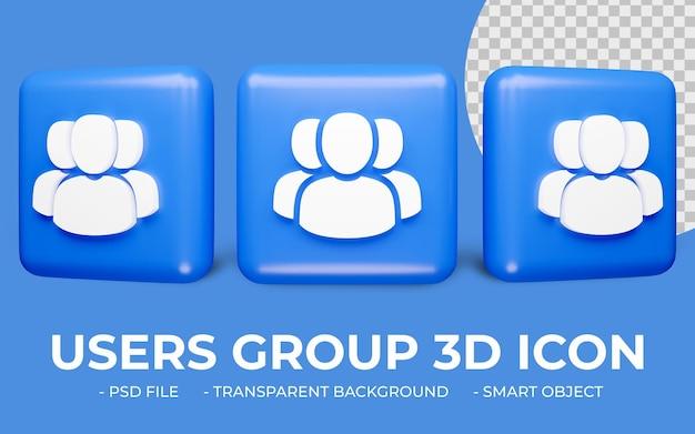 Rendering 3d disegno dell'icona del gruppo di utenti