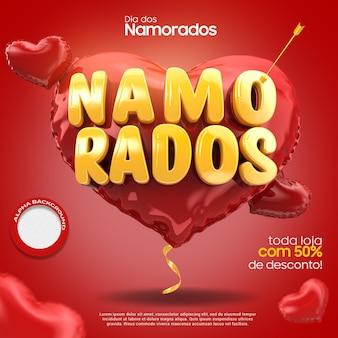 Rendering 3d di san valentino nel cuore con la campagna della freccia in brasile