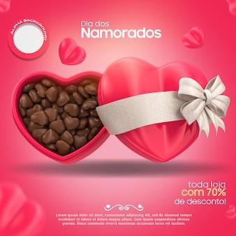 Rendering 3d di san valentino con la campagna cuore di cioccolato in brasile