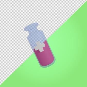 Icona medica della bottiglia della medicina di vetro della fiala di rendering 3d