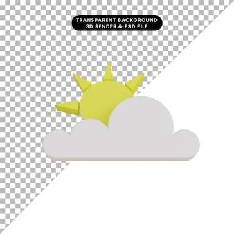 3d render icona meteo chiara