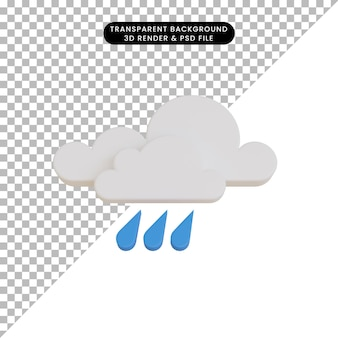 3d render icona meteo pioggia