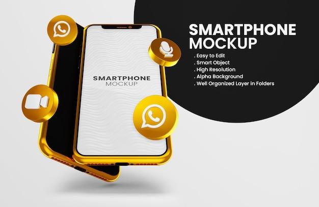3d render icona whatsapp su smartphone oro mockup