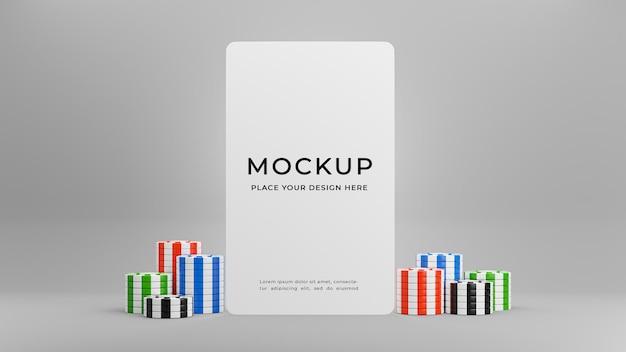 Rendering 3d della carta bianca con chip del casinò per la visualizzazione del prodotto