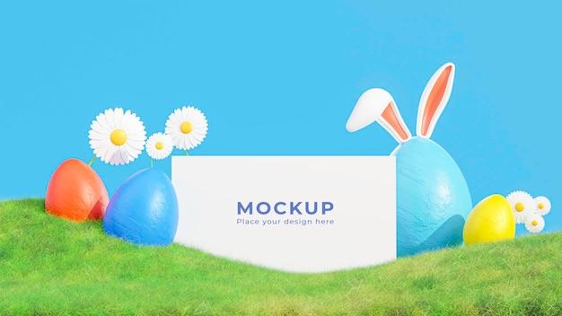 Rendering 3d della cornice bianca con la festa delle uova di pasqua per il tuo mockup