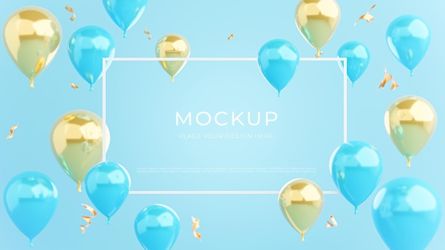 Rendering 3d di cornice bianca con palloncini blu oro, concetto di shopping poster per la visualizzazione del prodotto