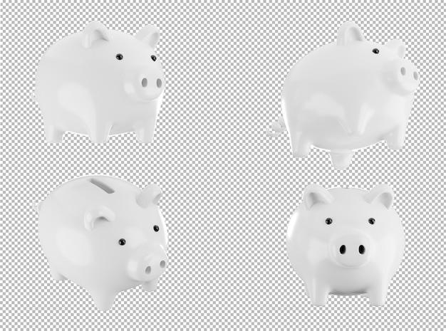 Rendering 3d di salvadanaio bianco su sfondo trasparente, con tracciato di ritaglio