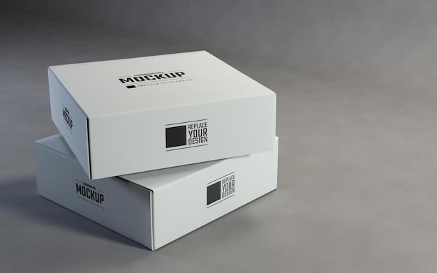 Render 3d scatole di cartone quadrate bianche mockup design