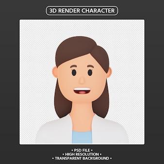 Rendering 3d avatar cartone animato donna