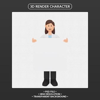 Rendering 3d del personaggio dei cartoni animati della donna che tiene cartello in bianco