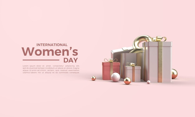 Rendering 3d festa della donna con una confezione regalo e una figura otto