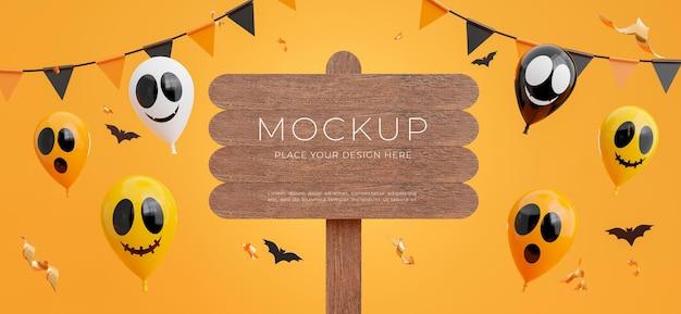Rendering 3d del cartello in legno con il concetto di halloween felice per la visualizzazione del tuo prodotto