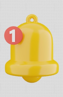 Rendering 3d della notifica della campana gialla isolata