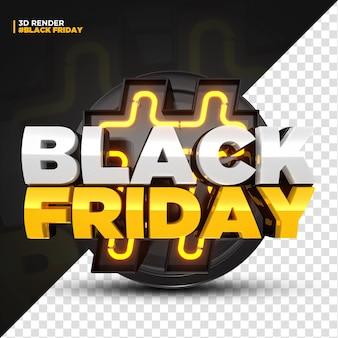 3d render etichetta yellow black friday con luci a led isolate per composizione