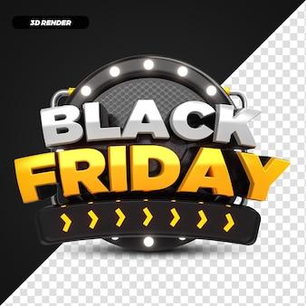 3d render etichetta di promozione dell'offerta del black friday giallo