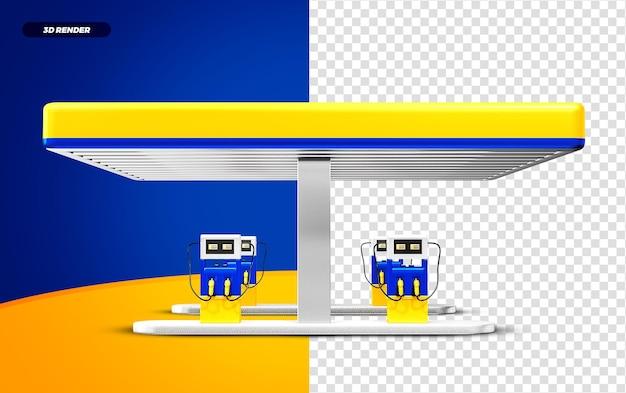 3d rendono la stazione di servizio gialla e blu isolted per la composizione
