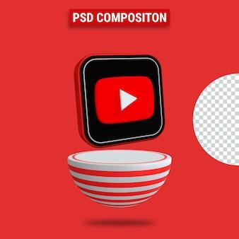 Rendering 3d dell'icona di youtube con podio a strisce rosse