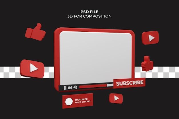 Rendering 3d del lettore video di youtube premium psd