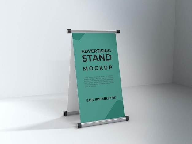 Progettazione di mockup di stand pubblicitario renderizzato in 3d per banner