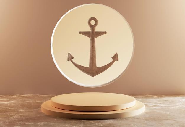 Scena di ancoraggio renderizzata in 3d con podio base di visualizzazione del prodotto