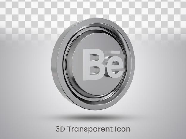 Visualizzazione a sinistra del design dell'icona di behance con rendering 3d
