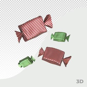 Caramelle 3d renderizzate per natale avvolte in un foglio colorato in varie posizioni