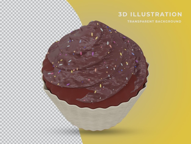 Torta al cioccolato resa 3d con sfondo trasparente